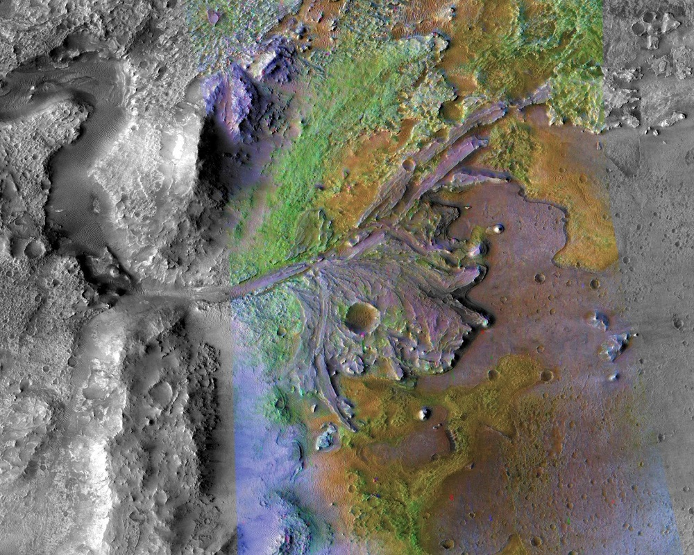 Ancient water channels and deltas at the Mars 2020 landing site in Jezero Crater. Image Credit: NASA/JPL-Caltech/ASU