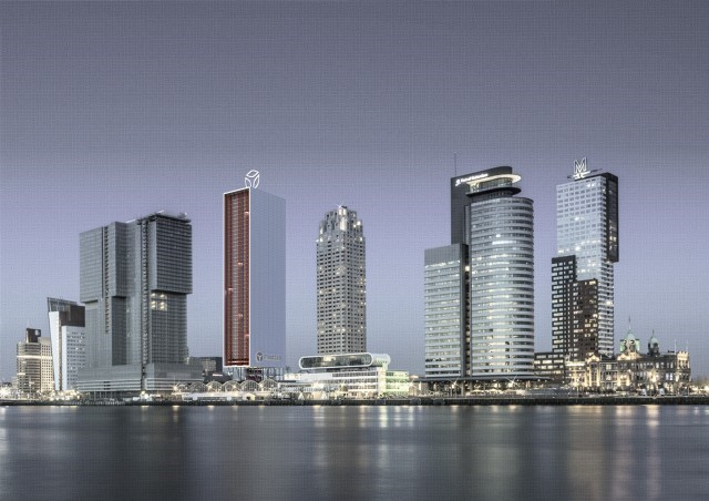 Rotterdam's skyline enriched by a vertical farm, artist impression.