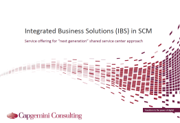 Integrated Business Solutions (IBS) in SCM