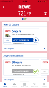 """Abb. 2: Nach Check-In nun Look-and-Feel von REWE in der PAYBACK GO App - Oben: PAYBACK GO Coupons (nur nach Check-In angezeigt) , Unten: """"normale"""" Coupons"""