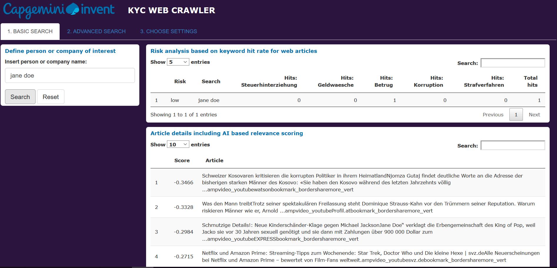 KYC Web Crawler, entwickelt von AI Garage, Capgemini Invent