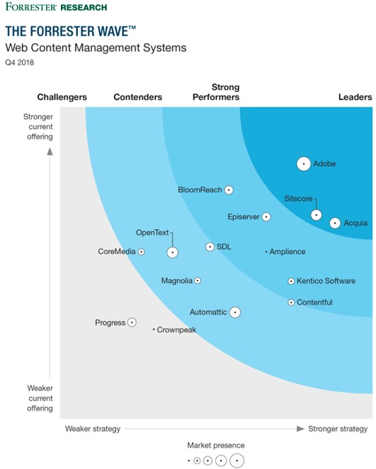 Adobe is highlighted as a clear leader in the Forrester Wave, Web Content Management Systems research report