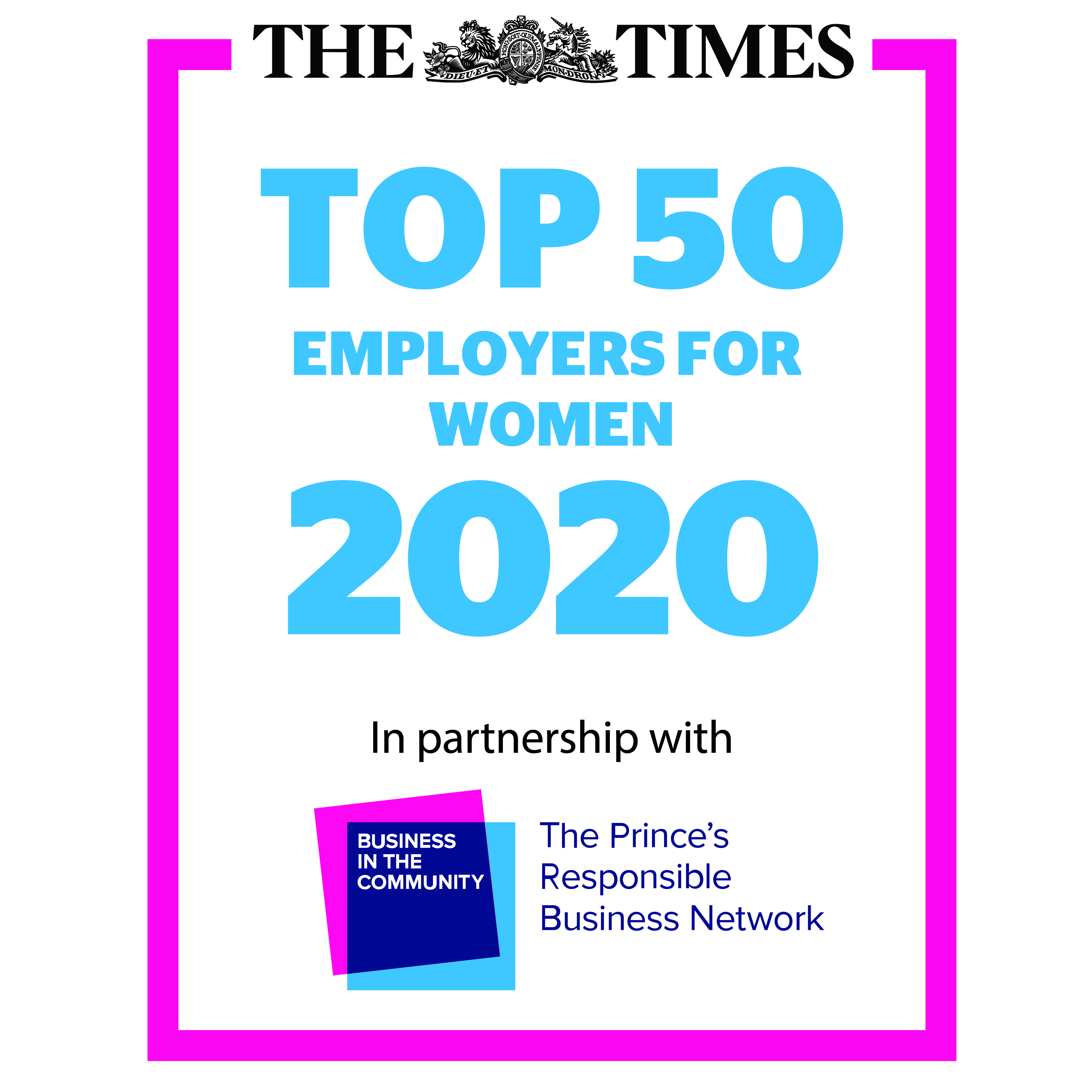 Times Top 50 Employers for Women 2020 logo