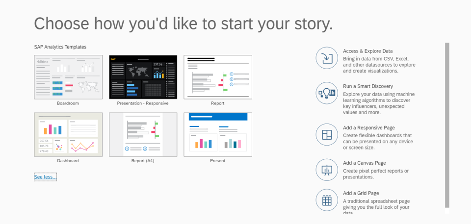 The Story quick-start screen - Source: Capgemini UK