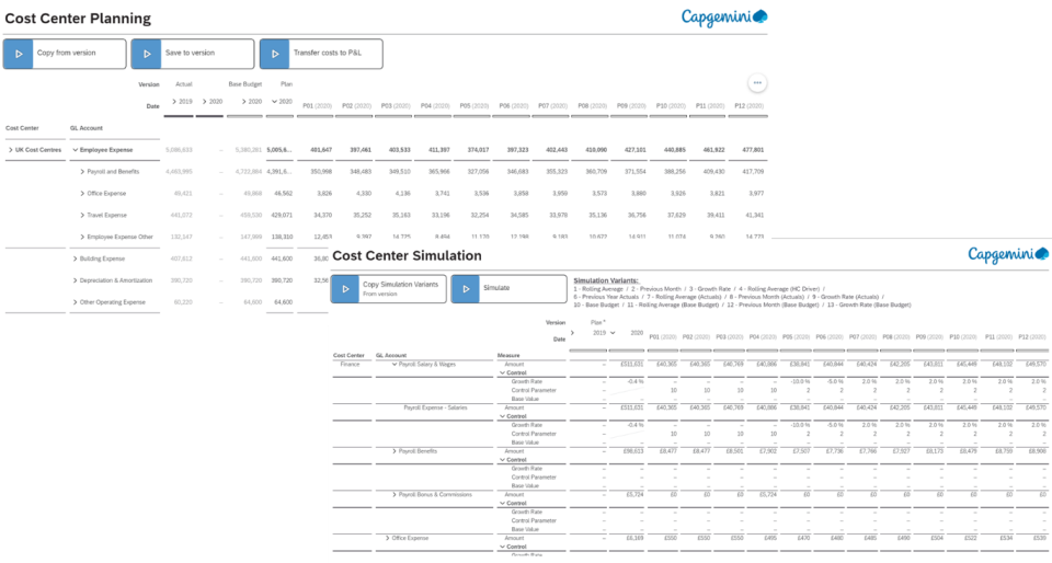 Figure 3: Example of planning layouts for Cost Planning (Image Source: Capgemini)
