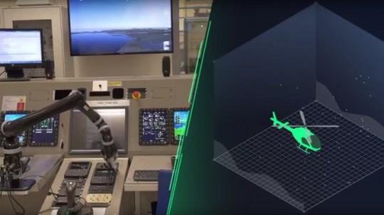 Airbus社のヘリコプターをテストする協働型ロボット