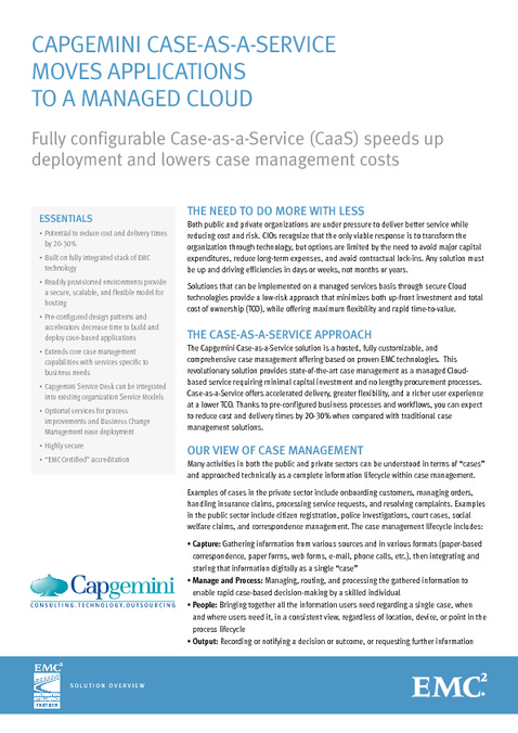 Capgemini Case-as-a-Service brengt applicaties onder in een beheerde cloud