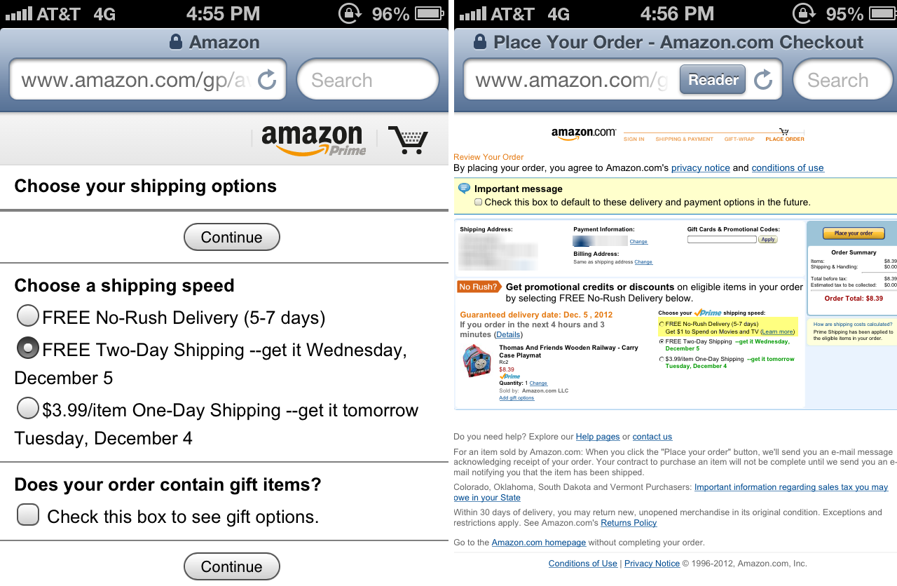 Amazon No Rush Shipping Incentive lost on mobile