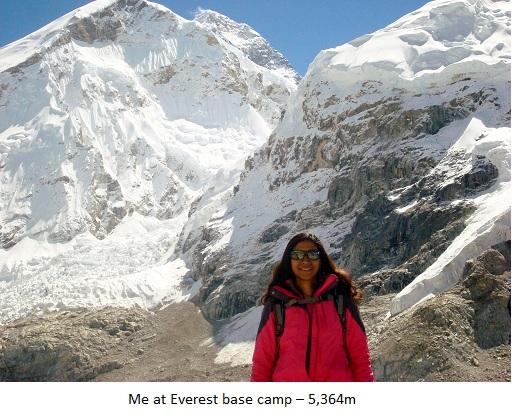 Me at Everest base camp – 5,364m