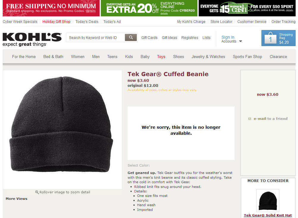 Unavailable items show up in Kohl's search results