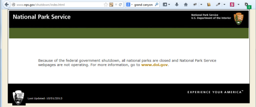 NPS Grand Canyon Website shutdown