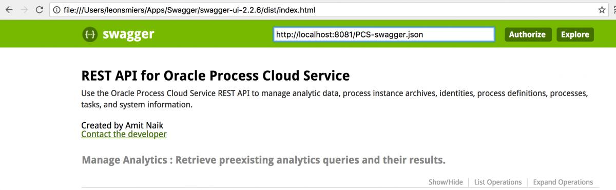 Getting the best Oracle API information with Swagger and a