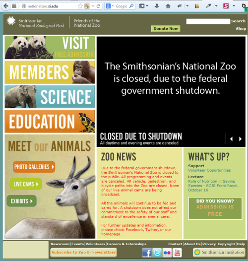 Smithsonian Zoo shutdown homepage