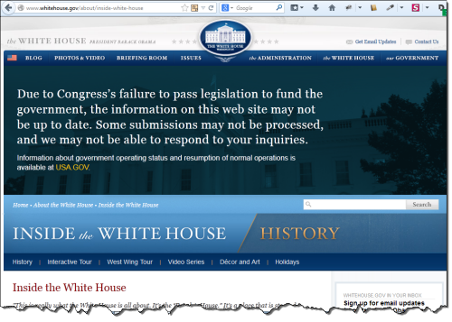 Whitehouse shutdown inside page