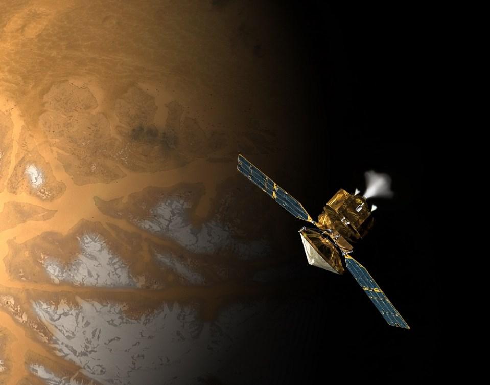 The Mars Reconnaissance Orbiter acts as a radio relay station in Mars orbit. Image Credit: NASA/JPL