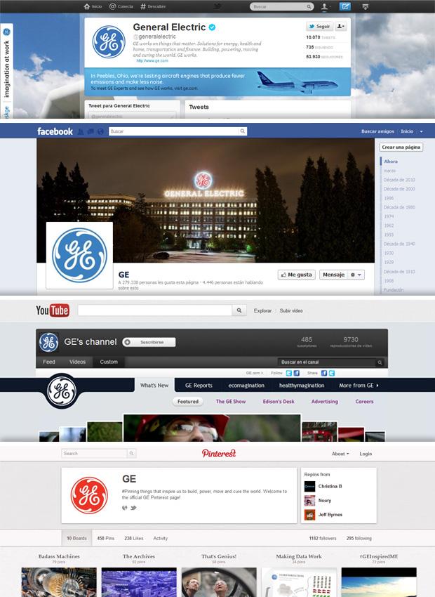 Páginas de General Electric en Twitter, Facebook, Youtube y Pinterest
