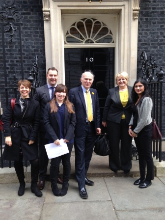Pallavi (far right), Becky Plant (second from right), Vince Cable (centre)