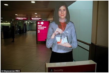 Holograms at airports. Image courtesy of Skyscanner/REX