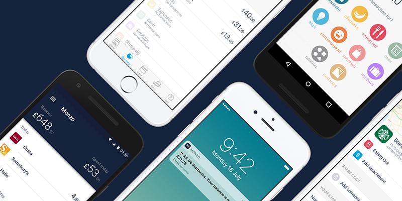 shots of the monzo app design